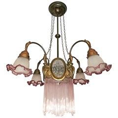 French Art Nouveau & Art Deco Pink Glass Straws Fringe Bronze & Brass Chandelier
