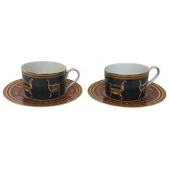 Gucci Porcelain Tea Cups and Saucers Set of 2