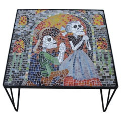 """Colorful Glass Mosaic Coffee Table in the Style of """"Dia de Muertos"""""""