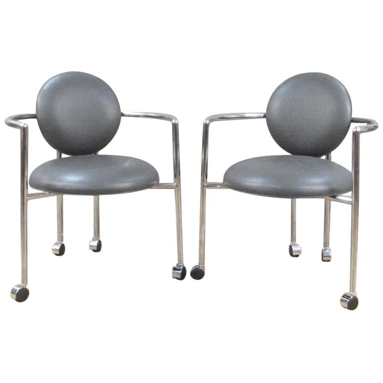 Pair of Moon Chairs by Stanley Jay Friedman for Brueton For Sale