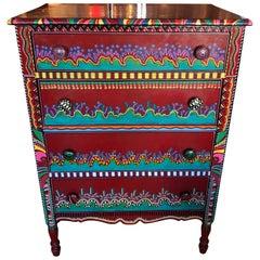 Hand Painted Postmodern Memphis Style Dresser