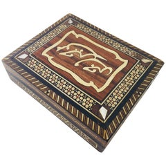 Syrian Inlaid Marquetry Mosaic Wooden Box