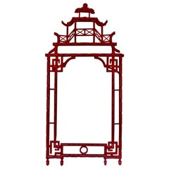 Elegant Red Lacquer Chinoiserie Mirror