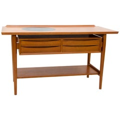Unusual Danish Teak Buffet or Console Table by Arne Vodder for Sibast Furniture