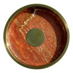Italian Design Marble Brass Plate, 1970s