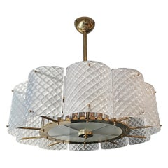Brass Chandelier with Crystal Inserts and Murano Glass