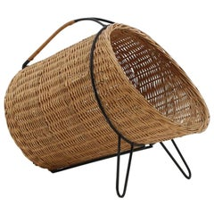 Scandinavian Midcentury Firewood Basket in Cane and Metal