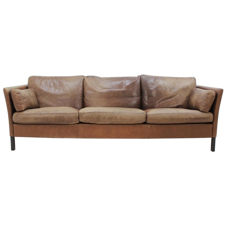1960s Georg Thams Danish Three-Seat Sofa in Brown Leather
