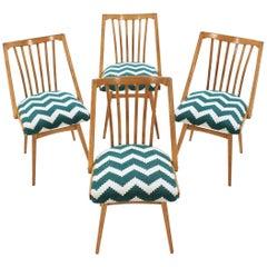Set of Four Oak Midcentury Dining Chairs, Czechoslovakia
