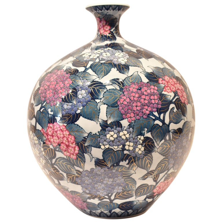 Massive Japanese Imari Porcelain Blue Red Vase by Contemporary Master Artist