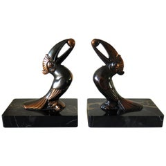 Art Deco Bookends, Metal Toucans on Portoro Marble Bases, French, circa 1930