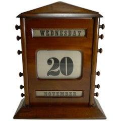 Oversized Antique English Mahogany Perpetual Calendar, circa 1900