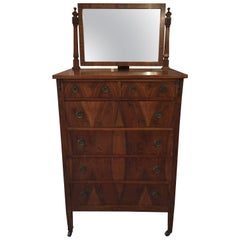 Beautiful Tall Mahogany Chest of Drawers with Dressing Mirror