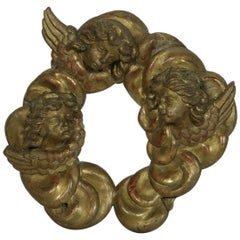 18th Century Italian Carved Giltwood Ornament of Three Baroque Angels