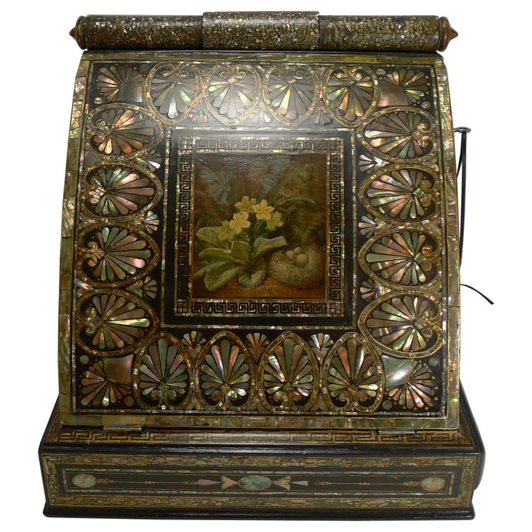 Fabulous Antique English Mother of Pearl Inlaid Papier Mâché Writing Box - Grand Large Antique English Mother-of-Pearl Drinks Cabinet Dated