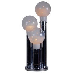 Italian Reggiani Space Age Aluminium Table Ceiling Lamp Glass Shades, 1970s