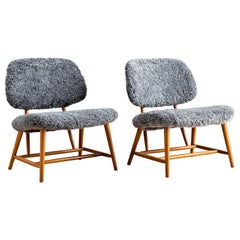 Alf Svensson Pair of Te-Ve Lounge Chairs with Sheepskin Upholstery