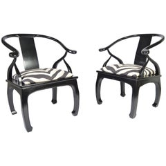 James Mont Style Chinoiserie Easy Chairs with Ralph Lauren Zebra Upholstery