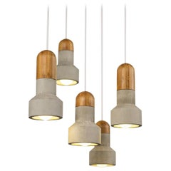 Concrete and Bamboo Ceiling Light 'Qie'