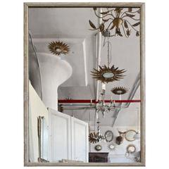 French 19th Century Mirror with a Distressed Painted Frame
