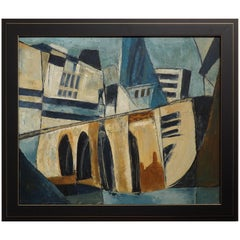 Hugo Mohl 'Die Brucke' / 'the Bridge' Midcentury Abstract Painting, Dated 1956