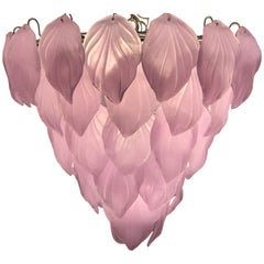 Pink Murano Glass Enchanting Italian Chandelier, 1980s