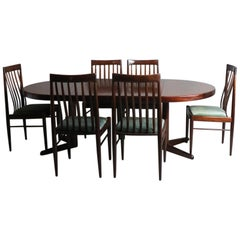 Mid-Century Modern Danish Dining Table and 6 Chairs by H.W. Klein for Bramin