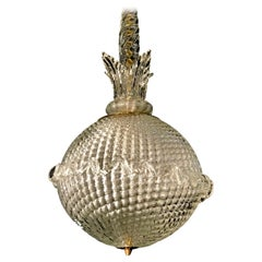Murano Glass Spherical Lantern or Pendant by Archimede Seguso Midcentury, 1960