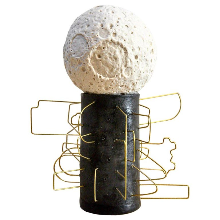 MM0002 Moon Sculpture by Mikel Durlam and Monty J, Ceramic and Brass Wire
