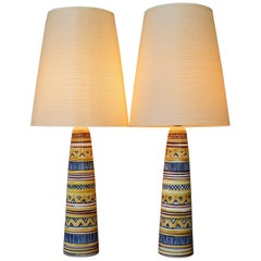Hand-Painted Pair of Gunnar & Lotte Bostlund Ceramic Lamps with Original Shades