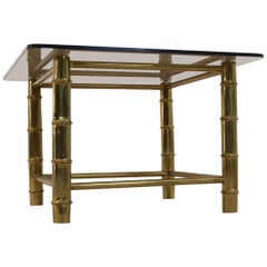 Faux Bamboo Brass Side or Coffee Table, France, 1960s