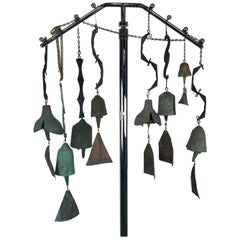 Collection of 8 Cast Bronze Wind Bells by Paolo Soleri, Cosanti