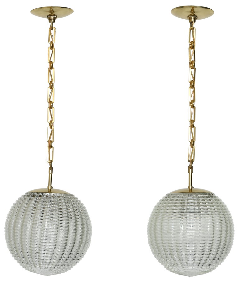 Venini Style Pair of Ceiling Pendants For Sale