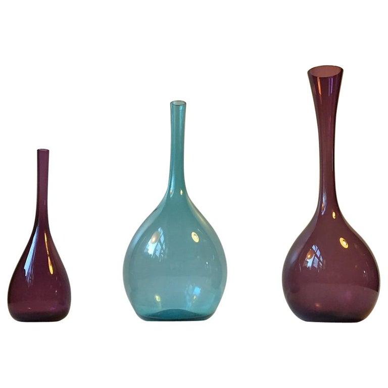 Swedish Modernist Glass Vases by Arthur Percy for Gullaskruf, 1950s, Set of 3
