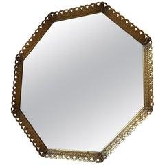 Octagonal Midcentury Danish Vanity Brass Mirror, 1950s