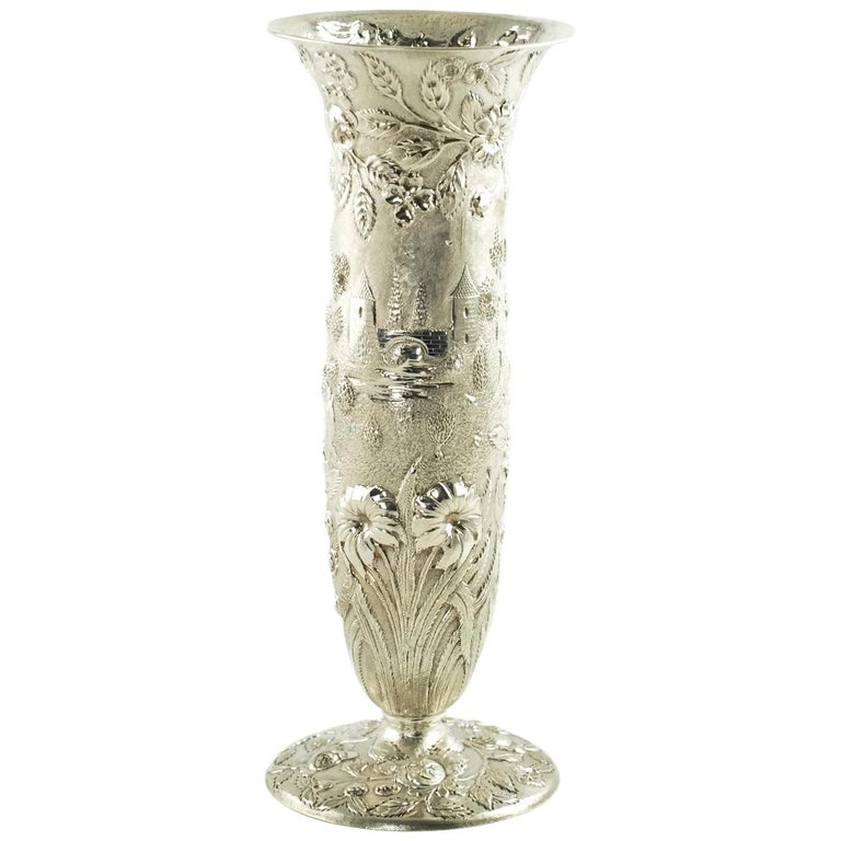 Early 20th Century Loring Andrews Sterling Silver Repousse Castle Pattern Vase For Sale