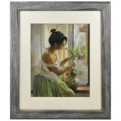 Spanish Artist Vicente Romero Redondo Pastel Painting Young Girl with Flowers