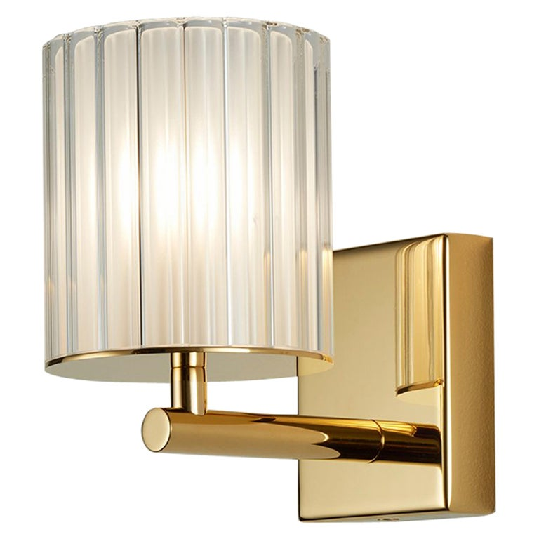 Flute Single Wall Sconce by Tom Kirk Finished in Polished Gold