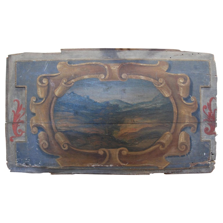 Original 19th Century Italian Painted Wood Panel For Sale