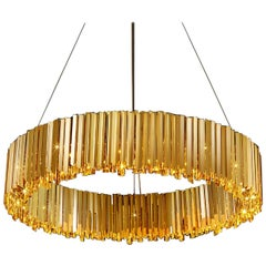 Facet Chandelier, Circular Fixture by Tom Kirk in Polished Gold - Lrg
