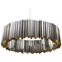 Facet Chandelier, Contemporary Round Fixture byTom Kirk in Stainless Steel - Sm