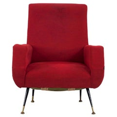 Italian Pair of Red Upholstered Armchairs with Metal Base, Brass Elements, 1950s