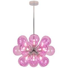 Cintola Maxi Pendant by Tom Kirk in Rose Glass with Polished Aluminum Finish