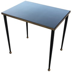 René Prou 'Style' Elegant Side Table in Lacquered and Gilded Metal, circa 1940