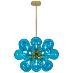 Cintola Maxi, Contemporary Pendant by Tom Kirk in Turquoise with Gold Finish
