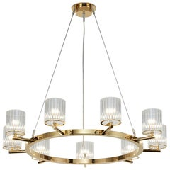 Flute Chandelier, 9 Arm Circular Contemporary Chandelir by Tom Kirk in Gold