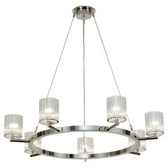 Flute Chandelier, 7 Arm Contemporary Chandelier by Tom Kirk in Chrome Finish