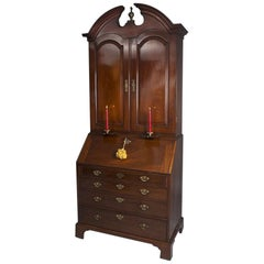 George II Antique Mahogany Bureau Cabinet