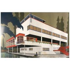 Original 1933 Art Deco Bauhaus Architect Villa Blueprint and Drawing, Belgium