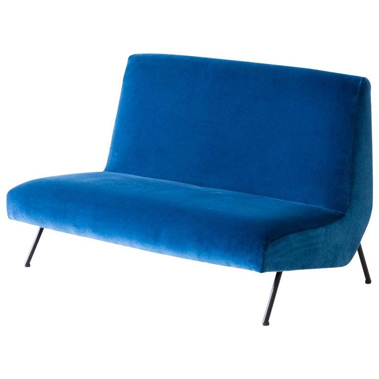 Reupholstered Italian Blue Velvet Sofa, 1950s